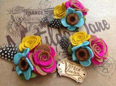 Image of Flower Pop Rosette floral bouquet Hair clip