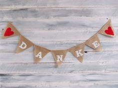 Hochzeitsgirlande DANKE Hochzeit Feierliches weiß von Feierliches auf DaWanda.com
