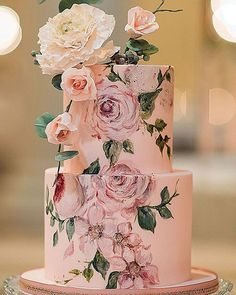 30 Eye-Catching Unique Wedding Cakes ❤ unique wedding cakes rose flower painted blynda dacosta photography #weddingforward #wedding #bride Square Wedding Cakes, Wedding Cake Roses, Floral Wedding Cakes, Fall Wedding Cakes, Wedding Cake Designs, Wedding Cake Toppers, Wedding Ideas, Wedding Tables, Wedding Details