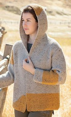 Knitting Pattern for Morecambe Bay Cardi - Hooded cardigan jacket with fun color blocks.