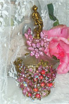 Antique Bejeweled Perfume Bottle Cherub Top From The Collection  By Debbie Del Rosario-Weiss!!!