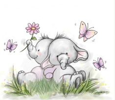 NEW 'Ellie Friends' Clear Stamp UK 🇬🇧 seller Image Elephant, Elephant Love, Blue Nose Friends, Cute Clipart, Tatty Teddy, Baby Art, Cute Illustration, Clear Stamps, Nursery Art