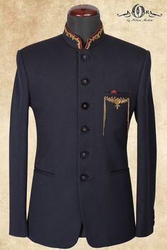 Blue Italian Zardosi Embroidered Jodhpuri Suits-ST655