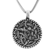 "Bird Spiral Ringerike Viking Norse Symbol Pewter Pendant Necklace 20"" Silver Insanity http://www.amazon.com/dp/B00023JQF0/ref=cm_sw_r_pi_dp_Am5Zwb1C4R007"
