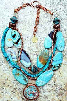 Kelly Conedera, Statement Necklace. Turquoise Copper Multi-Strand My Jewelry with Soul is a unique collection of handcrafted artisan jewelry including world-inspired exotic jewelry, bold statement jewelry, funky artisan jewelry and one-of-a-kind museum quality jewelry. This piece $ 300.00.