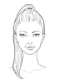 Sketch Hair - Fashion Design Drawings, Fashion Sketches, Art Drawings Sketches, Cute Drawings, Fashion Illustration Face, Fashion Illustration Template, Fashion Illustrations, Fashion Figure Drawing, Drawing Fashion