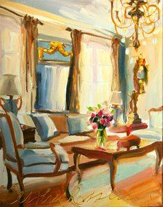 This original interior painting, called FRANSE KAMER or French Room is beautifully subtle depiction of an understated opulent French interior.
