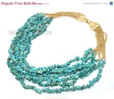 Turquoise Gem Stone Handmade Howlite Necklace by TopPopJewelry, $28.40