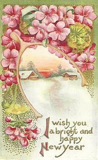 vintage New Year Illustration , pretty pink flowers