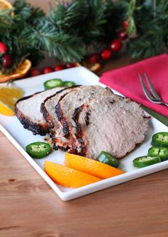 Spicy Orange Marinated Pork Loin Add this delicious pork loin to your holiday table! It is marinated with fresh navel orange and spicy jalap...
