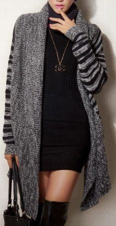Black Long Sleeve Asymmetrical Striped Oversized Cardigan US$49.99