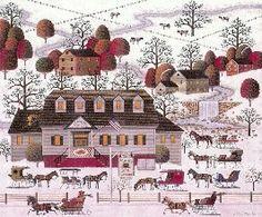 """Beaver Hat Tavern"" by Charles Wysocki. Naive Art, Artist Gallery, Winter Scenes, Artist Painting, Beaver Hat, Art Pictures, Folk Art, Illustration Art, My Arts"