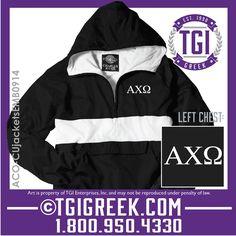 TGI Greek - Alpha Chi Omega - Jackets #tgigreek #alphachiomegadesigns #sororityjacket #newmemberjacket