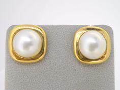 Earrings 14k yellow gold mabe pearl bezel set squared frame pierced stud #Stud