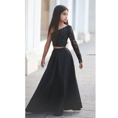 Said Mhamad Black One Shoulder Long Sleeve Kids Prom Dresses A Line Two Piece Beaded Flower Girls Dresses 2015 AG21-in Flower Girl Dresses from Weddings & Events on Aliexpress.com | Alibaba Group