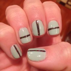 #Tibi S/S 2014 runway show inspired!! Color is Mint Convertible from Shellac @CND with black sparkly stripe!! Stripe details - Spring nail trend! @Harper's Bazaar #SephoraNailSpotting