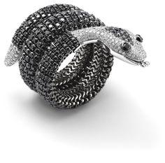 PHILLIPS : UK060111, , A black diamond and diamond snake bangle