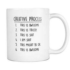 "Creative process mug Content + Care Ceramic Gently Hand Wash WhiteMug, BlackImprint Full wrap, ""Creative process"" Graphic on both sides. C-Handle Size 11 oz W"