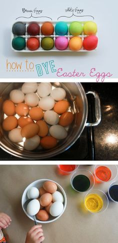 White eggs are traditionally used for bright jewel-toned eggs, and brown eggs dye beautifully into rich, earthy colors. Read more : http://www.ehow.com/how_15896_dye-easter-eggs.html/?utm_source=pinterest.com&utm_medium=referral&utm_content=inline&utm_campaign=fanpage