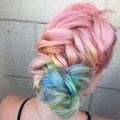 Prettiest my little pony rainbow hair by ❤️💛💚💙💜💗 Bold Hair Color, Bright Hair Colors, Hair Colours, Pastel Hair, Pink Hair, Hair Color Techniques, Dye My Hair, Gorgeous Hair, Hair Colors