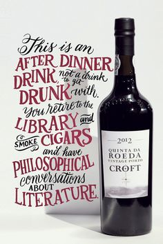 Wine Labels - Quinta da Roeda Vintage Porto Croft Typography Art by Angela Southern on Behance. Cool Typography, Typography Letters, Typography Design, Hand Lettering Styles, Hand Drawn Lettering, Typography Inspiration, Packaging Design Inspiration, Wine Advertising, Wine Poster
