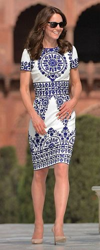 Naeem Khan white/blue embroidered dress. Click for more info