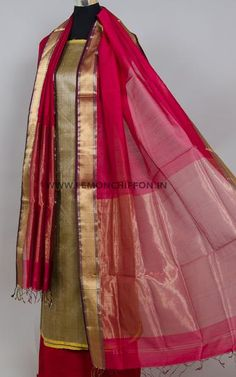 Pure silk hand woven kurta in matte gold shade teamed with an exquisite hand woven cotton silk dupatta in festive red. The dupatta has intricately woven. Dress Designs, Sleeve Designs, Salwar Pattern, Kurti Sleeves Design, Hand Painted Fabric, Silk Dupatta, Cotton Silk, Salwar Suits, Designer Dresses