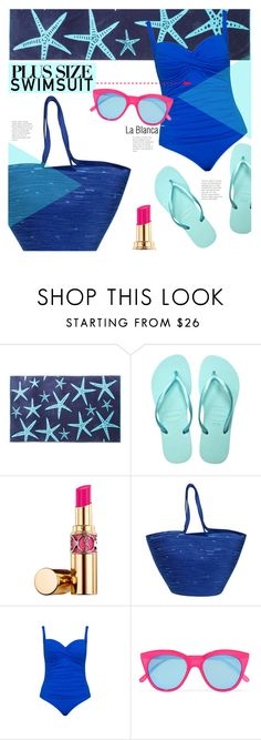 """Stylish Curves: Swimwear Edition"" by stacey-lynne ❤ liked on Polyvore featuring Havaianas, Yves Saint Laurent, Doug Johnston, La Blanca and Le Specs"