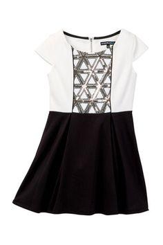 Sequin Detail Cap Sleeve Dress (Big Girls)