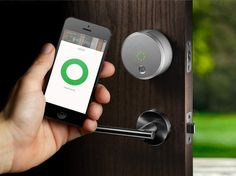 This smart lock is able to detect your mobile device's location, automatically unlock when standing within a 15 foot range, and now thanks to the innovative Everlock technology, the August smart lock will lock itself after a period of time programmable up to 5 minutes #smarthome #peaceofmind