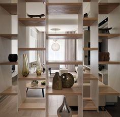 Contemporary Multi Level Apartment with Unique Stairs: Exciting Bookshelf As Room Divider Multi Level Contemporary Apartment Interior ~ nox-mag.com Apartment Design Inspiration