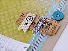 baker's twine wrapped ticket with pennant- nice! I also like the star on the pennant-- punched out or stamped?