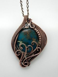 SOLD! Wire Wrapped Pendant Necklace Colored Jasper by PerfectlyTwisted