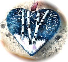 Winter Trees Heart Fused Glass Ornament Sun by JudiHartmanGLASSART, $28.00