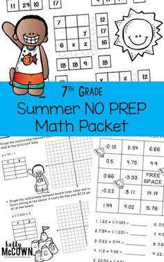 THE BEST SUMMER REVIEW! The 7th Grade Summer Math Review packet covers all 7th grade math material for rising seventh graders. Get your kids ready for 8th grade this Summer. Review unit rates, proportional relationships, equations, expressions, geometry constructions, inferences, populations, fractions, probability, and much more. Download the math worksheets today! Fun Math Activities, Math Resources, Holiday Activities, Math Worksheets, Summer Activities, Math Stations, Math Centers, 7th Grade Classroom, Classroom Ideas