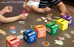 Recycling Game is a printable educational game that challenges children to sort various items into different recycling bins. It is great as an Earth day activity or to get your kids acquainted with the recycling program in the neighbourhood! Science Crafts, Preschool Science, Preschool Classroom, Science Activities, Educational Activities, Classroom Activities, Recycling Games, Recycling Kids, Recycling Activities For Kids