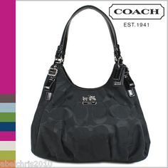 Coach Madison Signature C Maggie Black Bag Shoulder Handbag Purse...my new baby! Thanks family for this Christmas gift :)
