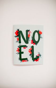 Noel Florals - Christmas Cards -  Hand Lettering - Greeting Card - A-2 Single Card by ShannonKirsten on Etsy