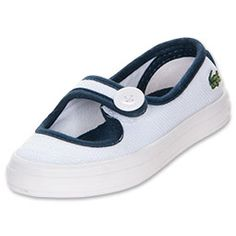 For the little girl who loves style and comfort, the Girls' Toddler Lacoste Borely Casual Shoes are the perfect choice. These ballet pumps can be dressed up for special occasions, or worn as her everyday favorite pair of casual slip-ons.  Featuring a canvas upper and cute Mary Jane styling, these ballet flats have a front strap with button detail for style. The signature Lacoste embroidered Croc adds an iconic, preppy vibe, while the rubber outsole gives her plenty of durability.