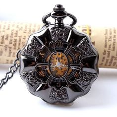 Black Steel Steampunk Pocket Watch (Mechanical Skeleton Watch)