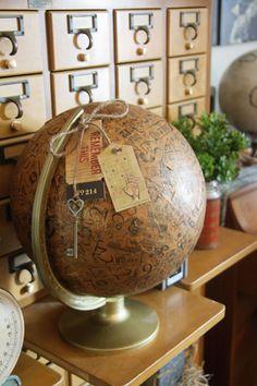 altered globe using 7Gypsies tissue paper! #alteredglobe #canvascorpbrands