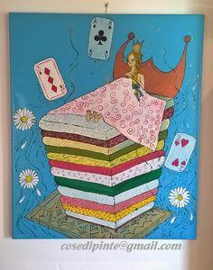"""Colori acrilici - quadro """" Principessa sul pisello"""" - un prodotto unico di serenagallo su DaWanda"""