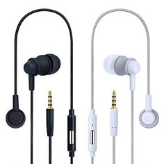 Noise Cancelling Earbuds Costyle 2 Pack Pure Nylon Braided In-ear Noise Isolating Earphones Headphones with Mic Remote Control Button for iPhone iPad Samsung Galaxy Series HTC LG(Black White)