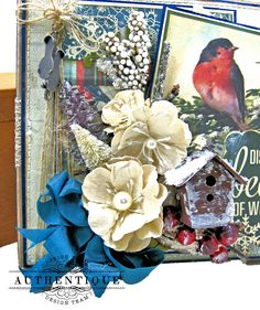 Authentique Solitude Waterfall Folio Tutorial by Kathy Clement Photo 03 Mini Album Tutorial, Little Birdie, Solitude, Altered Art, Mini Albums, 4th Of July, Embellishments, Christmas Cards, Waterfall