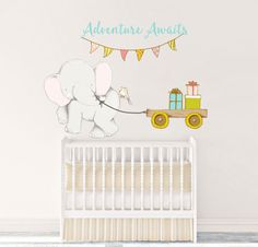 Nursery Fabric Wall Decal Boy Reusable Elephant Repositionable Decor Little Peanut Animal Adventure Awaits Quote Themed Tppcards 003wdeb