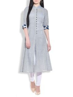 Stone blue flared lung jute kurta - 9772869 - Very Small Image - 1 Salwar Designs, Kurta Designs Women, Kurti Neck Designs, Kurti Designs Party Wear, Blouse Designs, Long Kurta Designs, Plain Kurti Designs, Casual Dresses, Fashion Dresses