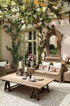 French inspired patio with sitting area                              …