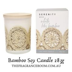 White Lily Bamboo Soy Candle Boho / 50 Hour Burn Elegant & clean, the intensity of the lily is gently wrapped in the original scent of fresh cut bamboo & sweet lime with light notes of warm amber & woody musk.