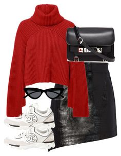 """""""Untitled #5448"""" by theeuropeancloset on Polyvore featuring Helmut Lang, Rosetta Getty, Chanel, Le Specs and Proenza Schouler"""