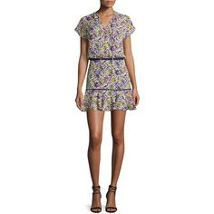 Veronica Beard Floral Silk Boho Mini Dress ($515) ❤ liked on Polyvore featuring dresses, bungalow floral p, floral print dress, short dresses, boho chic dresses, a line mini dress and cap sleeve dress